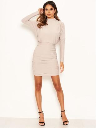 AX Paris High Neck Ruched Bodycon Dress - Silver
