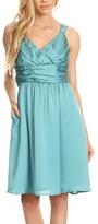 Aqua Banded-Waist Fit & Flare Dress