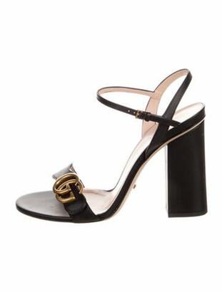Gucci Double G Logo Leather Sandals Black