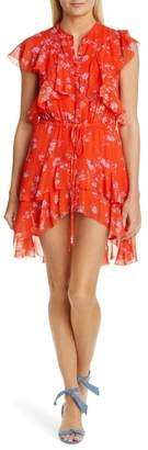 Nicholas Floral Cascade Ruffle Silk Minidress