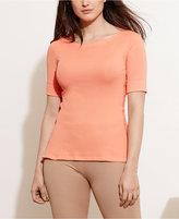Lauren Ralph Lauren Plus Size Stretch Boat-Neck T-Shirt