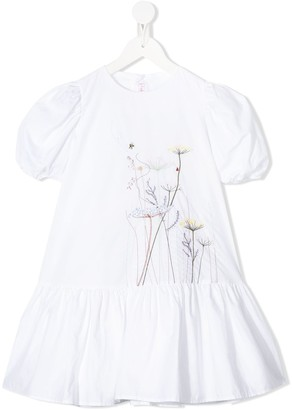 Il Gufo Floral Embroidered Cotton Dress