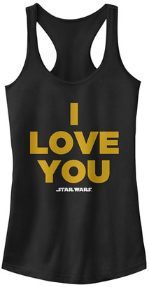 Fifth Sun Women's Tee Shirts BLACK - Star Wars Black 'I Love You' Fitted Racerback Tank - Women & Juniors