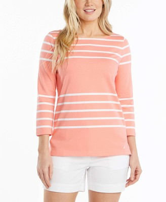 Nautica Women's Solids and Stripes Boatneck 3/4 Sleeve 100% Cotton Shirt