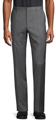 HUGO BOSS Tattersall Wool Flat-Front Pants
