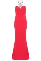 Quiz Red Diamante Halter Neck Fishtail Maxi Dress