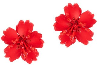 Oscar de la Renta Crystal Flower Earrings