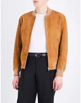 Sandro Stand Collar Suede Bomber Jacket