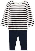 Ralph Lauren Girls' Nautical-Stripe Top & Solid Leggings Set - Baby
