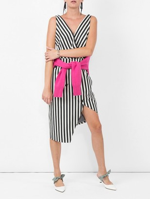 Altuzarra button detailed asymmetric hem dress black & white