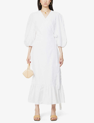 Gestuz Hevin wrap-over cotton midi dress