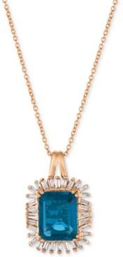 LeVian Le Vian Deep Sea Blue Topaz (3-1/3 ct. t.w.) & Diamond (1/3 ct. t.w.) Pendant Necklace in 14k Rose Gold