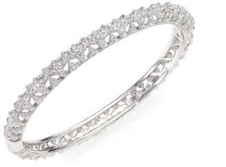Adriana Orsini Pave Crystal Floral Bangle Bracelet