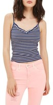 Topshop Women's Ivy Ruffle Stripe Ribbed Camisole