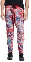 Robin's Jeans Tie-Dye Moto Jogger Pants, Red/Blue