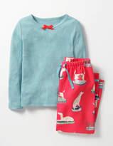 Cosy Pyjama Set Frost Blue Rainbow Check Girls Boden