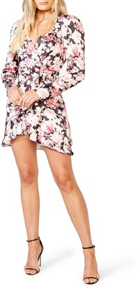 Bardot Samara Long Sleeve Floral Wrap Minidress