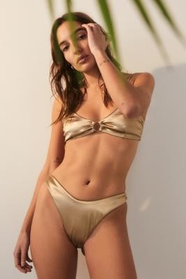 TWIIN Voyager Metallic Bikini Bottoms - Gold XS at Urban Outfitters