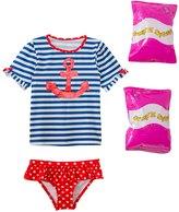 Jump N Splash Toddler Girls' Sweet Sailor TwoPiece Short Sleeve Rashguard Set w/ Free Floaties (2T-3T) - 8143052