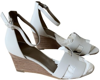Hermes Legend White Leather Sandals