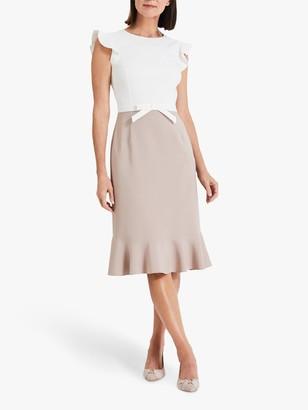Phase Eight Stella Bow Detail Dress, Ivory/Latte