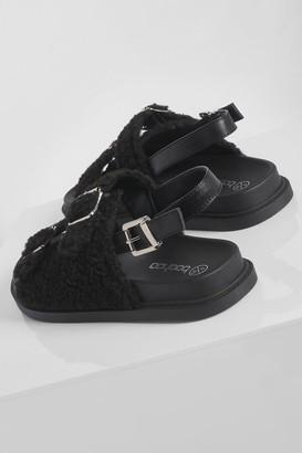 boohoo Borg Double Strap Sporty Dad Sandal