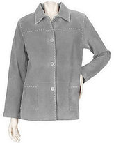 As Is Denim & Co. Washable Suede Barn Jacket w/ Pickstitch