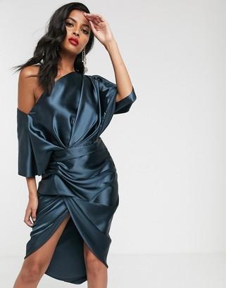Asos Edition EDITION drape asymmetric midi dress in satin-Blue