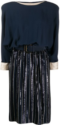 Valentino Pre Owned 1980's Belted Knee-Length Dress