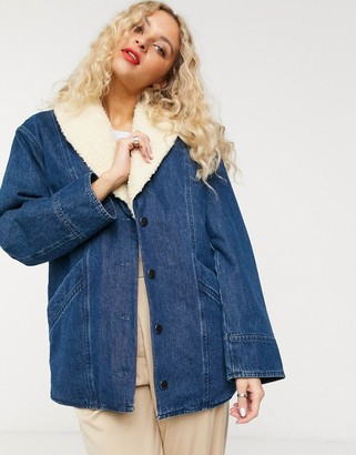 And other stories & denim faux shearling trim overcoat in blue