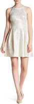 Soprano Metallic Cutaway Skater Dress