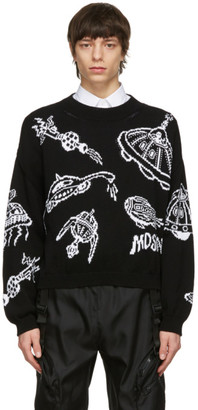 Moschino Black Cotton Spaceship Sweater
