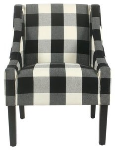 HomePop Modern Swoop Accent Chair - Black Plaid