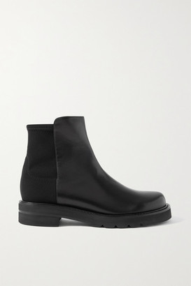 Stuart Weitzman 5050 Lift Leather And Neoprene Ankle Boots - Black