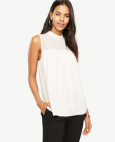 Ann Taylor Embroidered Scallop Trim Shell