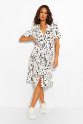 boohoo Polka Dot Shirt Style Midi Dress