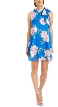 Robbie Bee Petite Floral-Print Chiffon Bow Dress