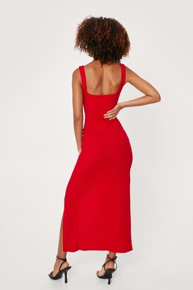 Nasty Gal Womens Square Neck Split Front Maxi Dress - Red - 12
