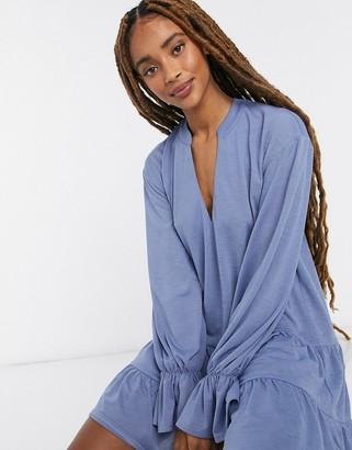 ASOS DESIGN tiered long-sleeved smock dress in blue