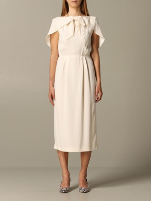 Prada Cady Midi Dress With Cape Sleeves