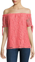 SOCIETY GIRL Society Girl Short Sleeve Lace Blouse-Juniors