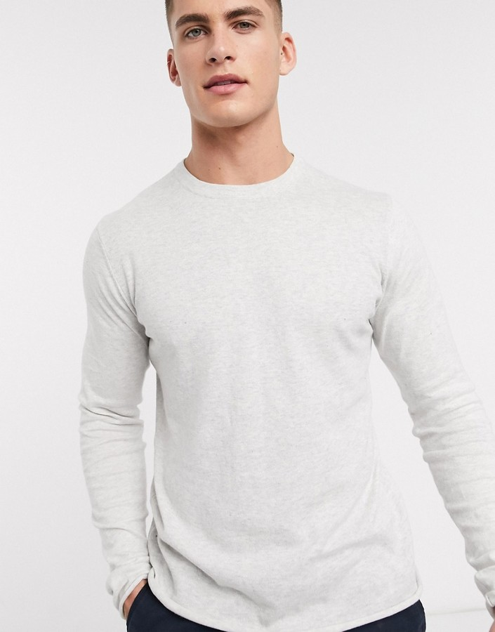Bellfield Mens Crew Neck Knit Jacquard Cable Textured Heritage Jumper Sweater
