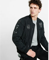 Express patch embellished insulated MA-1 bomber jacket