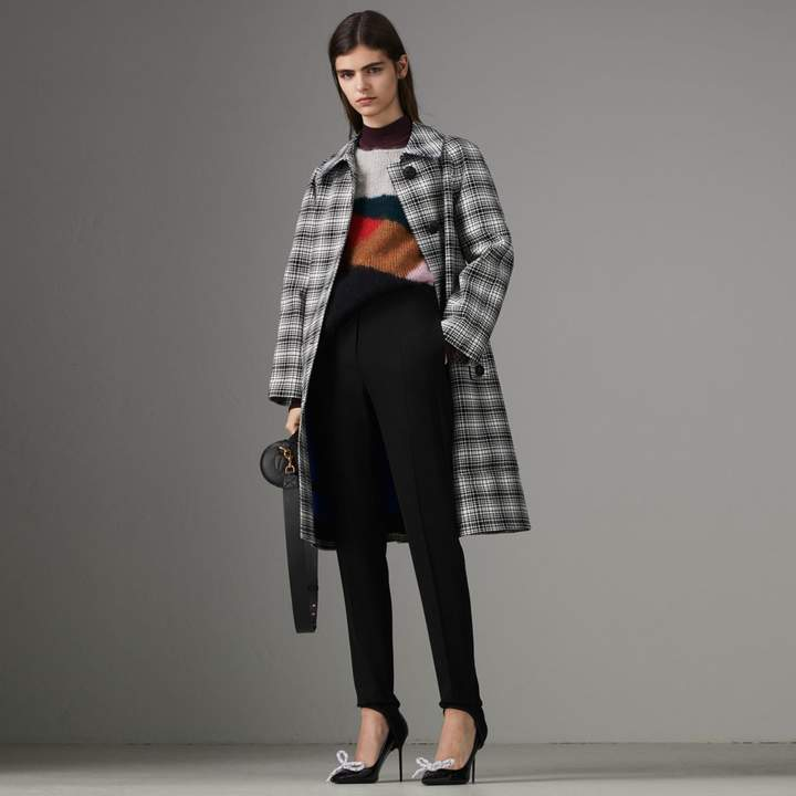 Burberry Check Wool Tailored Coat