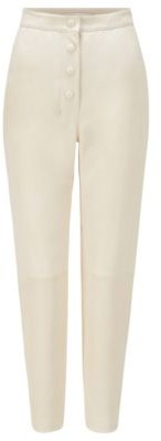 Boss X Caro Daur High-waisted slim-fit leather trousers with button detailing
