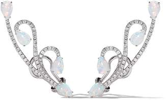 As 29 AS29 18kt white gold Lucy diamond and opal earrings