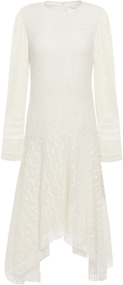 See by Chloe Asymmetric Guipure Lace-trimmed Open-knit Dress