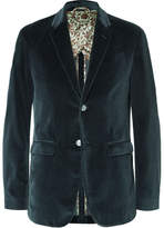 Gucci Blue Slim-fit Cotton-velvet Blazer