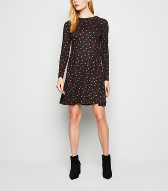 New Look Spot Print Long Sleeve Skater Dress