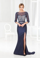 Terani Couture M3847 Beaded Quarter Length Sleeves Trumpet Gown